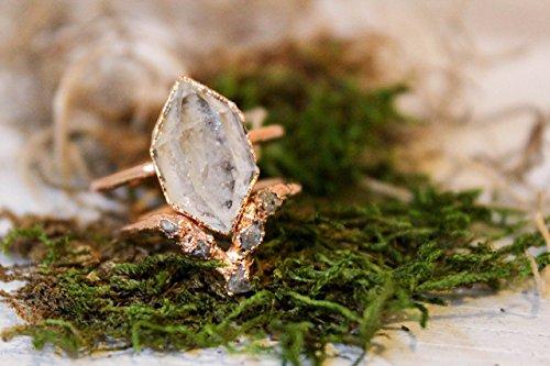 herkimer-diamond-and-raw-diamond-triangle-alternative-engagement-ring-set