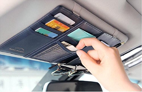 Price comparison product image Osierl Sun Visor Holder Multifunction Car Pu Leather Storage Pouch Bag