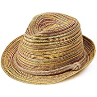 mingrong Sombrero de Playa Sombrero de Paja Visera Sombrero para el Sol Señora de Colores Mujeres Rayas Plegables Verano Refugio Sol