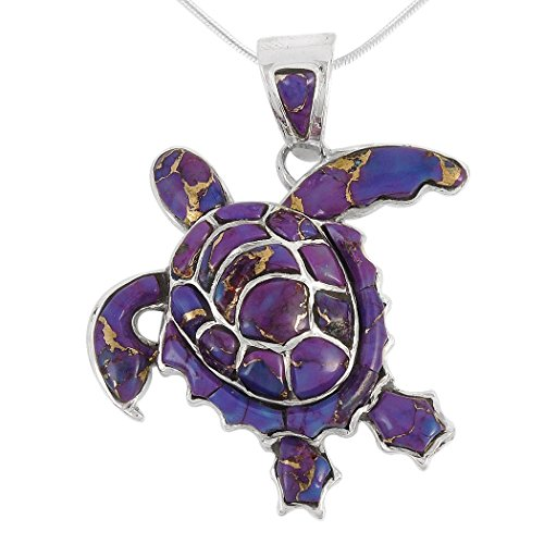 - Turtle Pendant Necklace in Sterling Silver 925 & Genuine Purple Turquoise