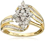 Jewelili 10kt Yellow Diamond Gold Cluster Ring (1/2 cttw), Size 9