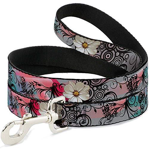 Buckle-Down Pet Leash - Flowers w/Filigree Pink - 6 Feet Long - 1.5
