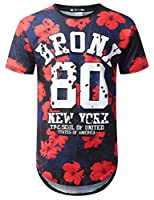 URBANTOPS Mens Hipster Hip Hop Floral Graphic Longline T-Shirt (Various Styles)