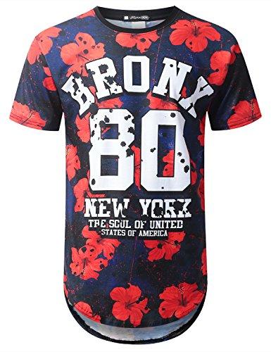 URBANTOPS Mens Hipster Hip Hop Bronx 80 Floral Longline T-shirt BLACK, - Hip Fashion 80's Hop