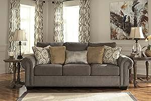Emelen Contemporary Brown chenille upholstery fabric Sofa