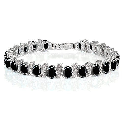 Ice Gems Sterling Silver Black Sapphire Oval and S Tennis Bracelet