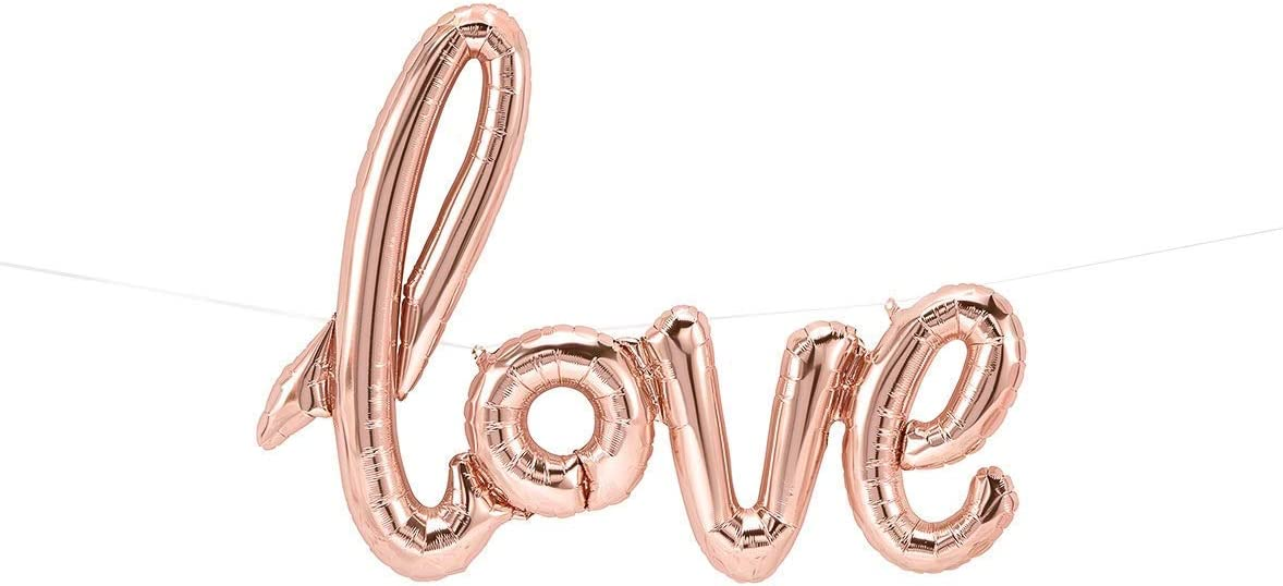 Baby Shower Engagement Party gold or red for Wedding Day Decor hot pink pink Love Script Balloon Rose Gold Bachelorette party