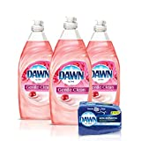 Dawn Gentle Clean Liquid Dish Soap (3x24oz) + Non-Scratch Sponge (2ct), Pomegranate & Rose Water