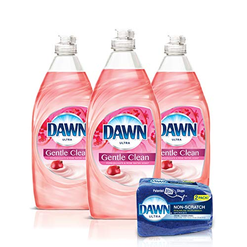 Dawn Gentle Clean Liquid Dish Soap (3 Count) + Non-Scratch Sponge (2 Count), Pomegranate & Rose Water, 1 Set (Best Dishwashing Liquid For Hands)