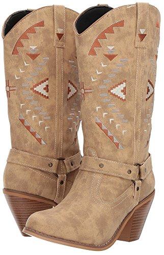 Dingo Womens Tan Fashion Boots Faux Leather Cowboy Boots Round Toe 9 M