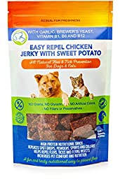 Natural Flea and Tick Prevention and Control Chicken Jerky Treat for Dogs and Cats, 6 oz