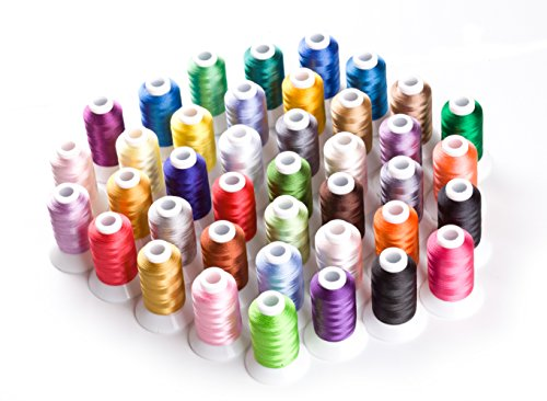 CR INDUSTRY 40 Assorted Colors Polyester Embroidery Machine Thread Set for Janome Brother Pfaff Babylock Singer Bernina Husqvaran Kenmore Juki Machines (500 Meters Each)