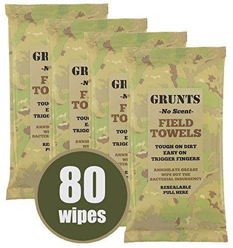 - Grunts No Scent Field Wash Towels | Wipes for Hunting, Outdoors, Camping 20/Pack (4 Packs, 80 Total Wipes)