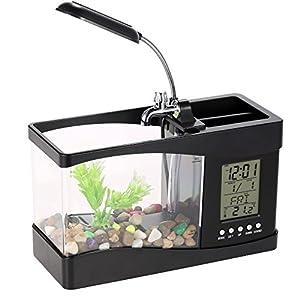 Docooler USB Desktop Mini Fish Tank Aquarium with LED Clock