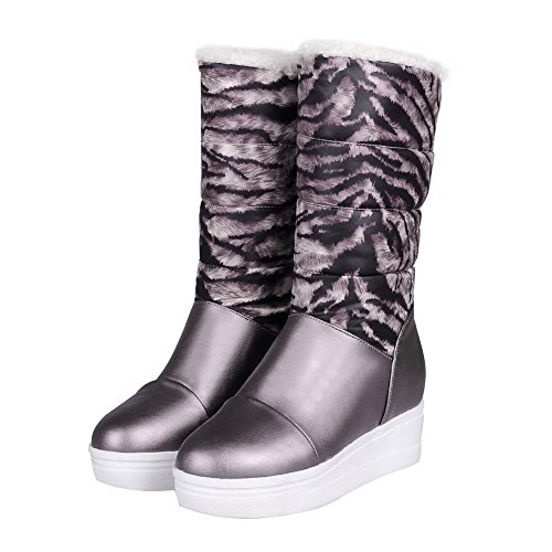 Pull Low Boots Round Color On Assorted Women's Closed Heels Gray Top High Toe Allhqfashion w4xqBAq