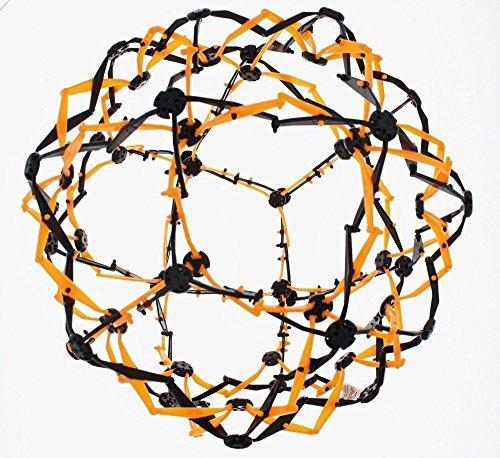 Hoberman Mini Sphere Neon Orange and Black Expandable Ball
