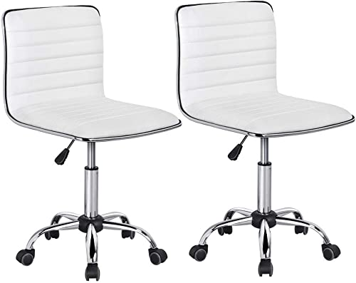 Yaheetech Adjustable Task Chair PU Leather Low Back Ribbed Armless Swivel Desk Chair Office Chair Wheels White, Set of 2