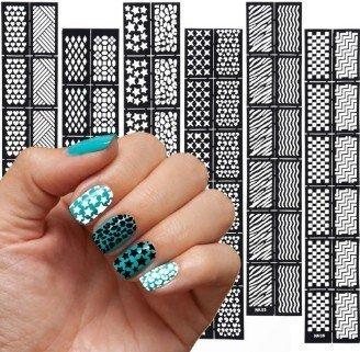 NAIL ART SELBSTKLEBENDE SCHABLONEN Nailart Nagelkunst Schablonen 6 Blatt K1--K6 Nagelfolie / Aufkleber für Airbrush, Nagellack, Glitter
