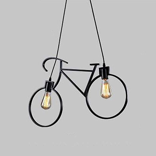 W&Z Lámpara de Techo de luz Colgante con lámpara de Bicicleta ...