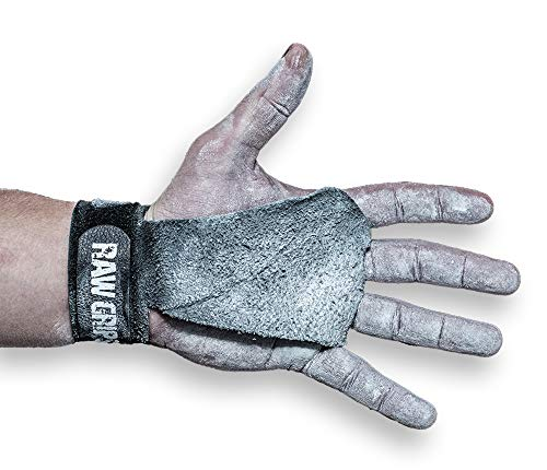 JerkFit RAW Grips, 2 Finger Leather Gymnastics Grips with Full Palm Protection. (L)