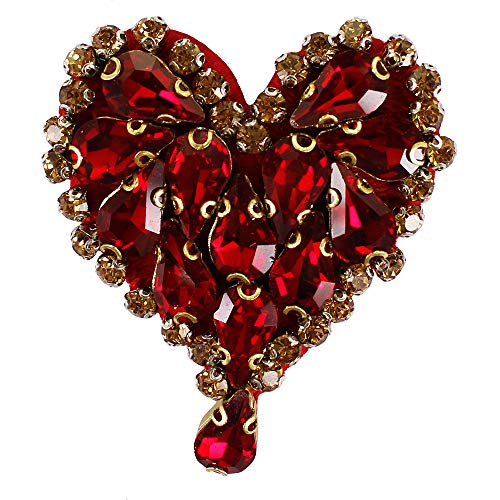 EMDOMO 2pc Beaded Diamond Heart Badges Waterdrop Crystal Motifs Love Rhinestones Patches for Shoes Brooches Hat Decorated Craft TH1411 (Brooch Motif Crystal)