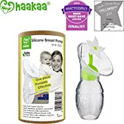 Haakaa Breast Pump with Flower Stopper 100% Food Grade Silicone BPA PVC and Phthalate Free (3.5oz/100ml) (White)