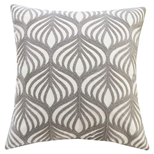 SLOW COW Cotton Embroidery Decorative Throw Pillow Cover Pillowcase for Couch Sofa Bedroom Geometric Pattern Accent Pillow Cover Cushion Cover 18 x 18 Inches Gray