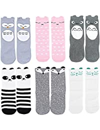 Unisex-baby Socks Knee High Stockings Animal Theme 6 Pack Set by OLABB