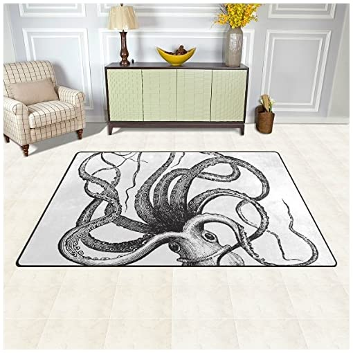 INGBAGS Super Soft Modern Octopus Black and White Area Rugs Living Room  Carpet Bedroom Rug for Children Play Solid Home Decorator Floor Rug and ...