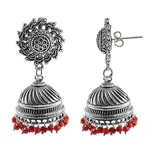 Silvesto India Vintage Indian Bollywood Drop Dangle Red Crystals Chandelier Surya Jhumka Earrings Jewellery PG-108280