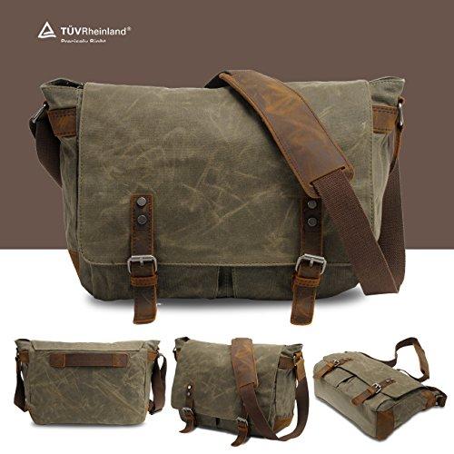 SWYIVY Messenger Satchel Tasche für Männer und Frauen, Vintage Canvas Real Crazy-Pferd Leder 15-Zoll-Laptop-Aktentasche für den täglichen Gebrauch 35 cm (L) x 27 cm (H) x 11 cm (W) (Grau) Army grün