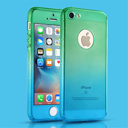 iPhone 5S Case, iPhone 5 Case, MCUK Full Body Coverage Luxury Ultra-thin Gradient with [Slim Tempered Glass Screen Protector] Shockproof Armor Case Cover for Apple iPhone 5S/5 (Green-Blue) (Wood Iphone 5 Case Blue)