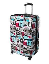 Atlantic Canadiana Large Checked Luggage - Hardside Expandable Spinner Luggage 28-Inch, Multicolored