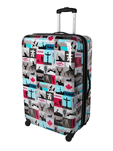 Atlantic Canadiana Large Checked Luggage – Hardside Expandable Spinner Luggage 28-Inch, Multicolored
