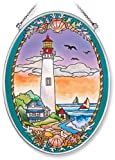 Amia Hand Painted Glass Suncatcher with Cape May Lighthouse Design, 5-1/4-Inch by 7-Inch Oval