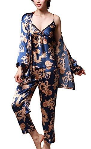 Jusfitsu Women's Pajama Sets Elegance 3pcs Silk Pajamas Womens Sleepwear Sets Blue 2XL -