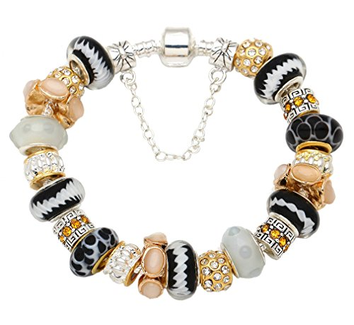 Jewelry - Silver-plated Pandora Style Charm Fashion Bracelet with Murano Style Beads, - Perfect Gift for Women- Valentines, Birthdays, Anniversaries and Mother's Day