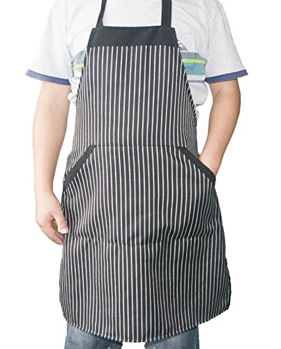 i COVER Classic Chalk-Strip Professional quality Commercial and Home Use Bib Apron, adjustable neck strap, long ties, big pocket, larger apron, heavier fabric, more durable AP101 (Tie Apron)