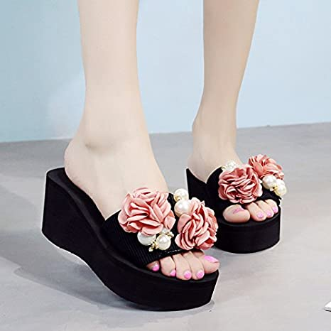 Zapatillas de tacón alto zapatos de moda de playa en verano, las flores femeninas todos coinciden con una gruesa suela de zapatillas,37,negro
