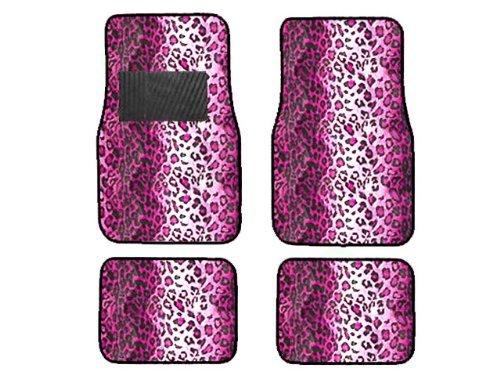 Animal Car Floor Mats (BDK Pink Leopard Animal Print Front & Rear Carpet Car Truck SUV Floor Mats)
