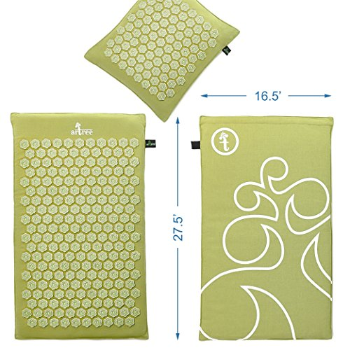 New Version Professional Acupressure Mat and Pillow Set Natural Linen – Best Acupuncture Mat Gift – Back and Neck Pain Relief Reflexology Mat – for Women and Men - Stress and Muscle Relief (Green) by Artree (Image #1)