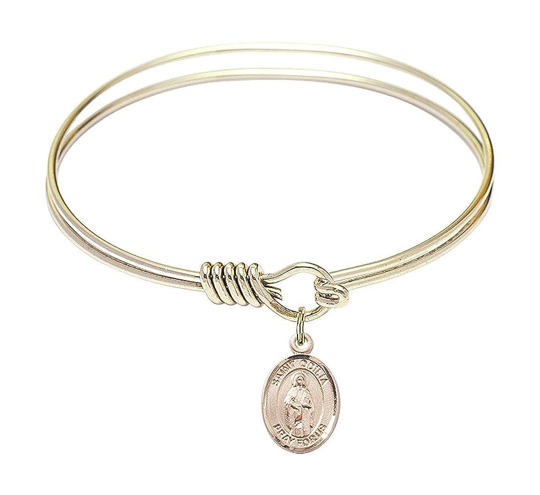 St Odilia Charm On A 6 1//4 Inch Round Eye Hook Bangle Bracelet