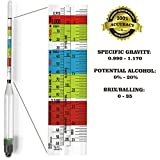 Premium Triple Scale Hydrometer - ABV Testing for Home Brew Beer and Wine