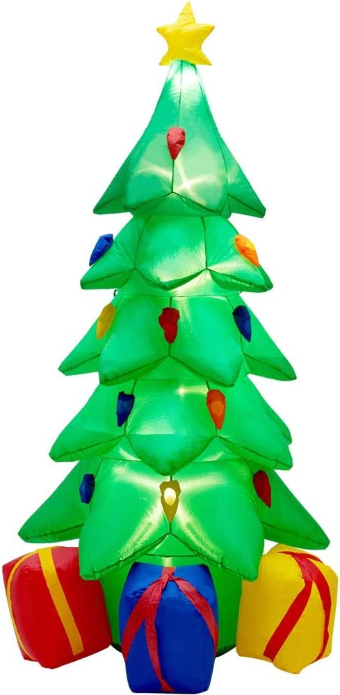 Optimisland 7 FT Inflatable Christmas Tree with LED Lights, Animated Airblow Christmas Tree with 3 Gift Wrapped Boxes, Christmas Lighted Decoration for Indoor Outdoor Yard Garden