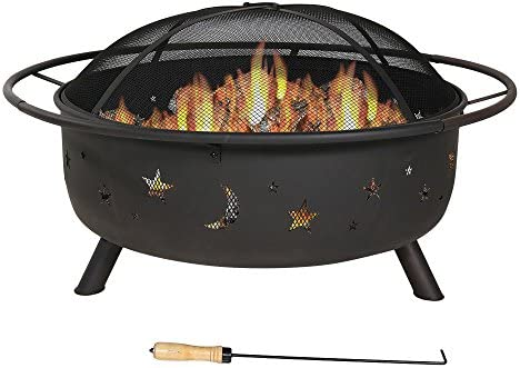 Sunnydaze Cosmic Outdoor Fire Pit – 42 Inch Large Bonfire Wood Burning Patio Backyard Firepit for Outside with Round Spark Screen, Fireplace Poker, and Metal Grate, Celestial Design