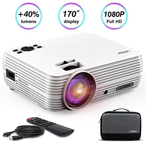 """Mini Portable Projector, LATOW HD 3D Home Video Projector with 170"""" Display 1080P 2200 Lumen Support Home Theater Projector Compatible w/Fire TV Stick, HDMI, VGA, USB, AV, PS4, TF (Include Carry Bag)"""