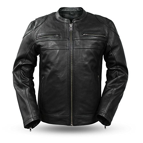 First Mfg Co Diamond Men's Leather Jacket (Black, ()