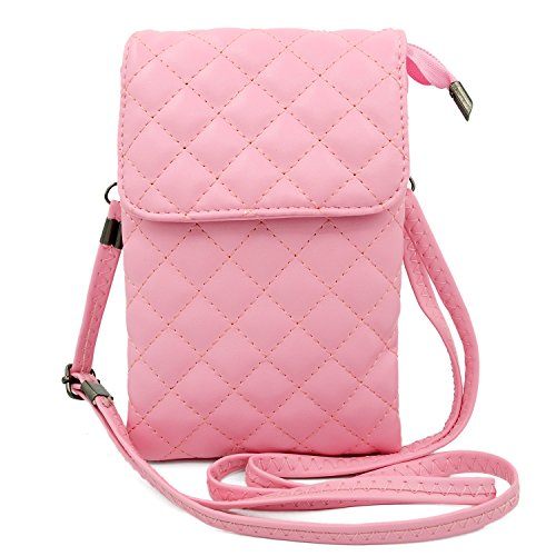[Dlames Womens PU Leather Cell Phone Shoulder Bag Small Crossbody Purses Pouch Lady Wallet with Shoulder Strap (Pink)] (Pink Soft Leather)