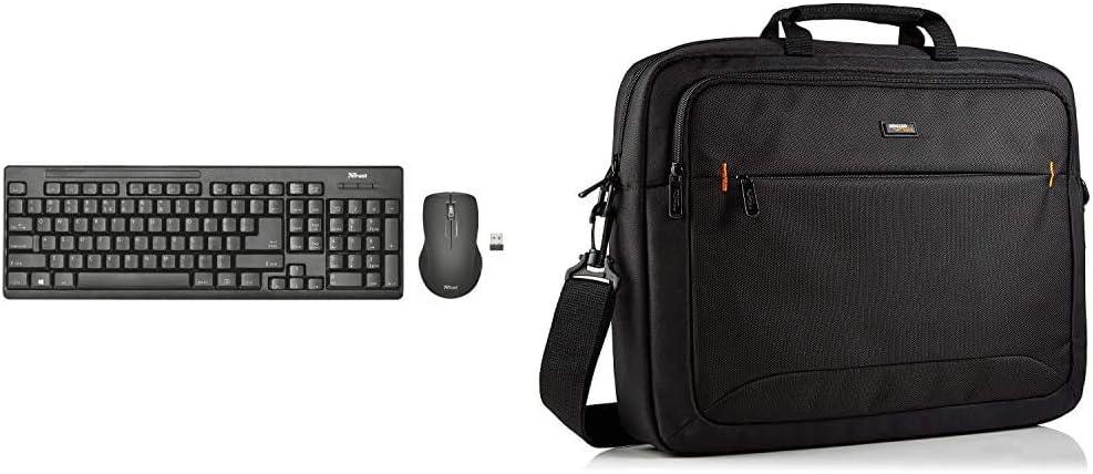 Trust Ziva - Teclado y ratón inalámbricos, Layout español, Negro + Amazon Basics - Funda para Ordenador portátil de 17,3 Pulgadas, Negro, 1 Unidad