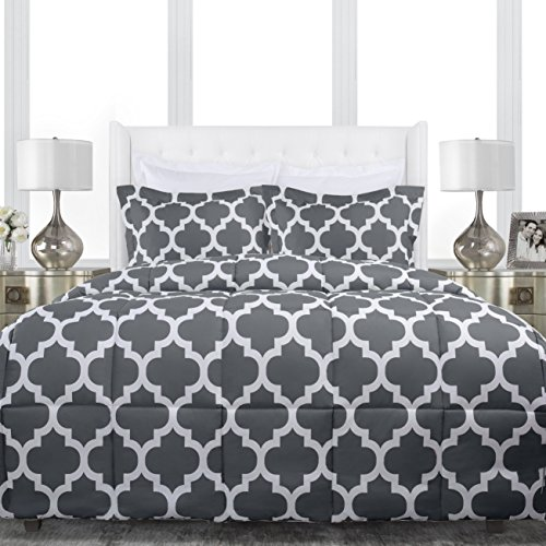Sleep Restoration Luxury Goose Down Alternative Quatrefoil Comforter - Premium Hypoallergenic All Season Duvet - King/Cal King - Gray